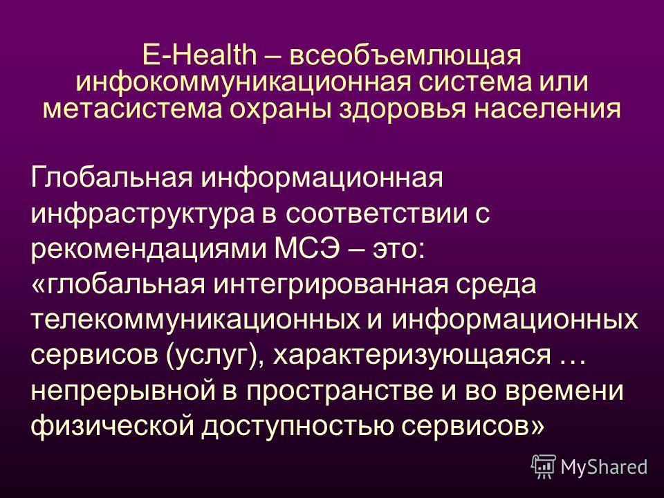 E-Health – всеобъемлющая инфокоммуникационная система или метасистема охраны здоровья населения Глобальная информационная инфраструктура в соответствии с рекомендациями МСЭ – это: «глобальная интегрированная среда телекоммуникационных и информационны