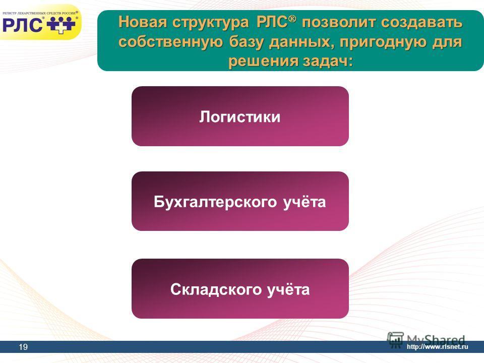 http://www.rlsnet.ru Новая структура РЛС позволит создавать собственную базу данных, пригодную для решения задач: 19 Логистики Бухгалтерского учёта Складского учёта