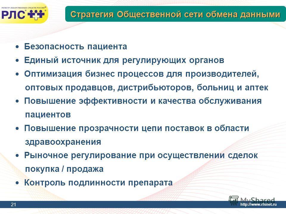 http://www.rlsnet.ru Стратегия Общественной сети обмена данными 21 Безопасность пациента Единый источник для регулирующих органов Оптимизация бизнес процессов для производителей, оптовых продавцов, дистрибьюторов, больниц и аптек Повышение эффективно