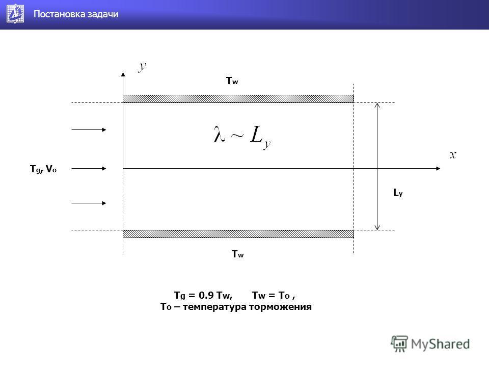 Постановка задачи LyLy TwTw TwTw T g, V o T g = 0.9 T w, T w = T o, T o – температура торможения