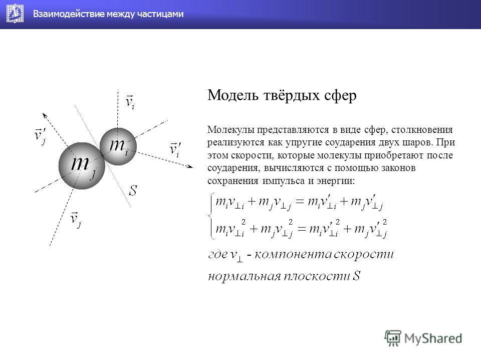 Модель твёрдых сфер Молекулы представляются в виде сфер, столкновения реализуются как упругие соударения двух шаров. При этом скорости, которые молекулы приобретают после соударения, вычисляются с помощью законов сохранения импульса и энергии: Взаимо