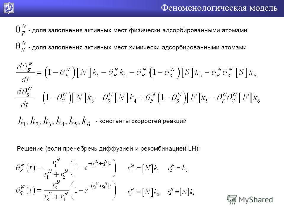 Феноменологическая модель - доля заполнения активных мест физически адсорбированными атомами - доля заполнения активных мест химически адсорбированными атомами - константы скоростей реакций Решение (если пренебречь диффузией и рекомбинацией LH):