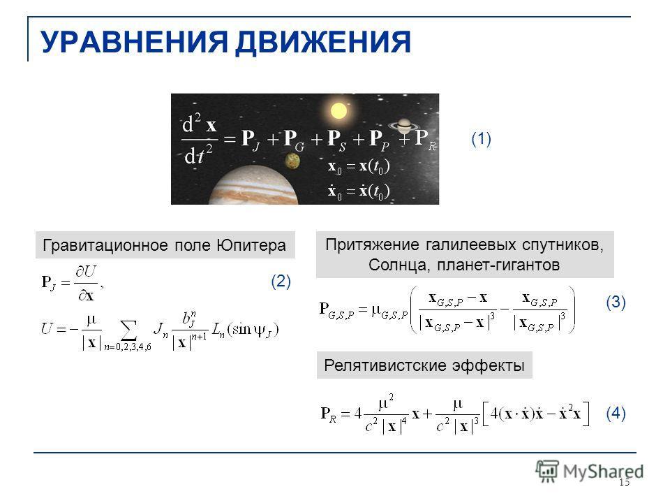 15 УРАВНЕНИЯ ДВИЖЕНИЯ (1) (2) (3) (4) Гравитационное поле Юпитера Притяжение галилеевых спутников, Солнца, планет-гигантов Релятивистские эффекты
