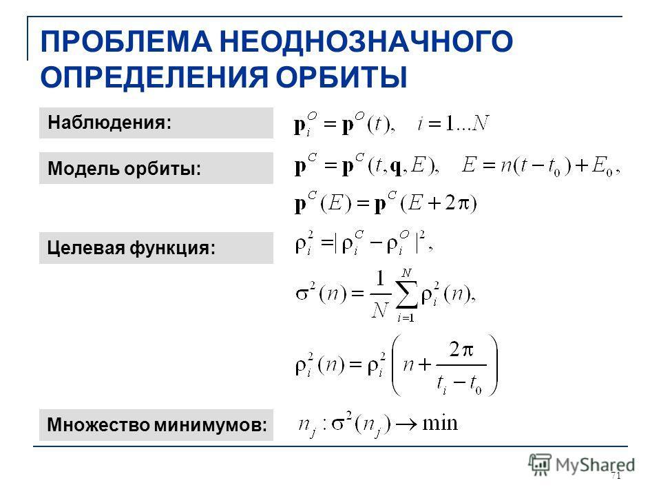 71 ПРОБЛЕМА НЕОДНОЗНАЧНОГО ОПРЕДЕЛЕНИЯ ОРБИТЫ Наблюдения: Модель орбиты: Целевая функция: Множество минимумов: