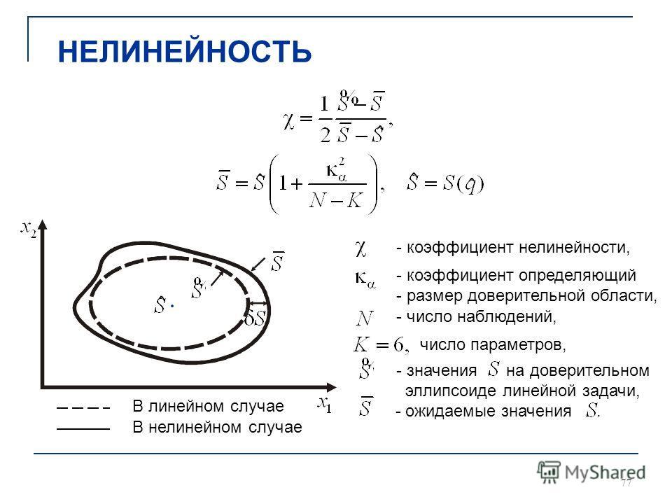 77 НЕЛИНЕЙНОСТЬ В линейном случае В нелинейном случае - коэффициент нелинейности, - коэффициент определяющий - размер доверительной области, число параметров, - число наблюдений, - значения на доверительном эллипсоиде линейной задачи, - ожидаемые зна