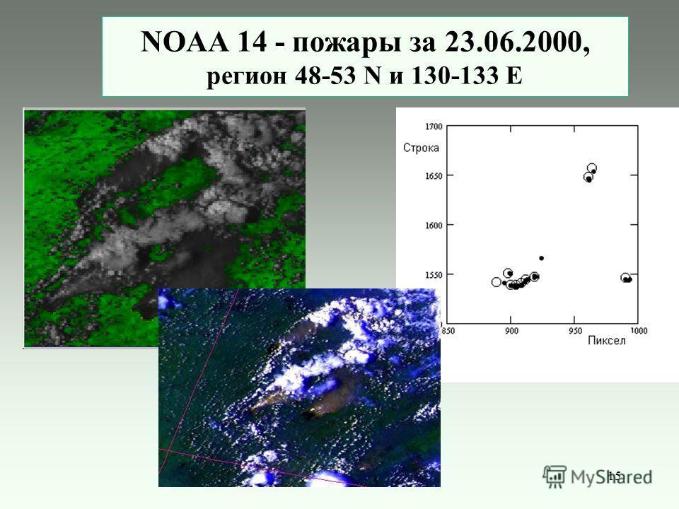15 NOAA 14 - пожары за 23.06.2000, регион 48-53 N и 130-133 E