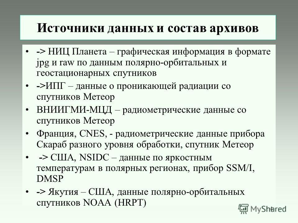 4 Источники данных и состав архивов -> НИЦ Планета – графическая информация в формате jpg и raw по данным полярно-орбитальных и геостационарных спутников ->ИПГ – данные о проникающей радиации со спутников Метеор ВНИИГМИ-МЦД – радиометрические данные