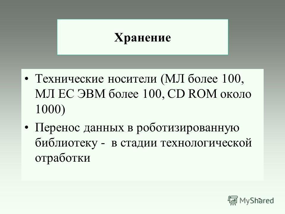 7 Хранение Технические носители (МЛ более 100, МЛ ЕС ЭВМ более 100, CD ROM около 1000) Перенос данных в роботизированную библиотеку - в стадии технологической отработки