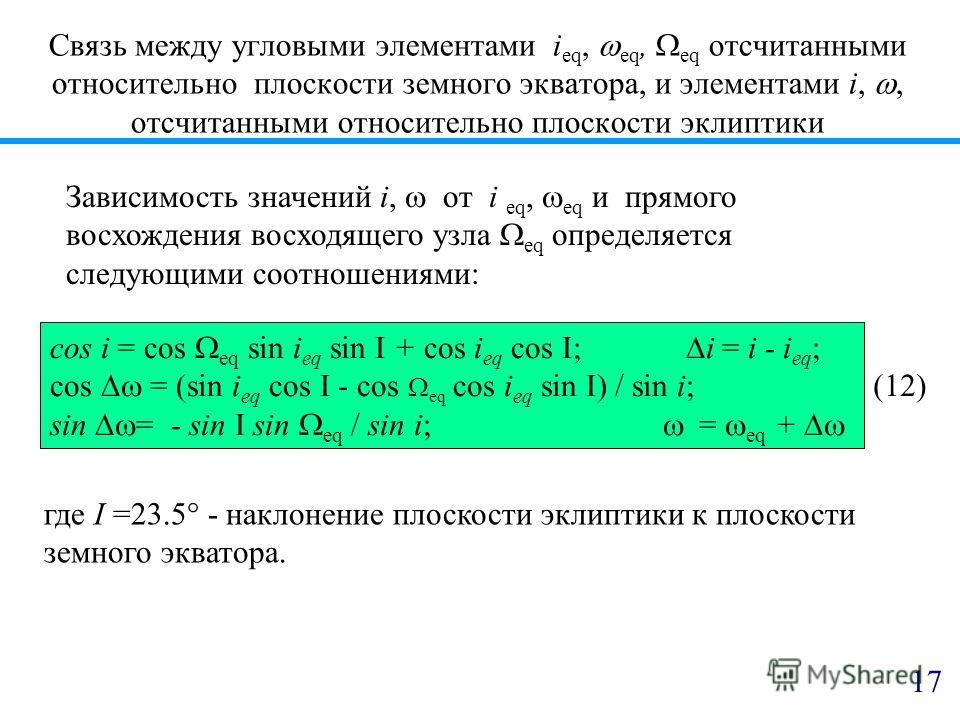 Связь между угловыми элементами i eq, eq, eq отсчитанными относительно плоскости земного экватора, и элементами i,, отсчитанными относительно плоскости эклиптики Зависимость значений i, от i eq, eq и прямого восхождения восходящего узла eq определяет
