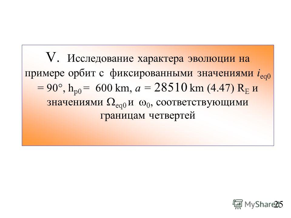 V. Исследование характера эволюции на примере орбит с фиксированными значениями i eq0 = 90, h p0 = 600 km, a = 28510 km (4.47) R E и значениями eq0 и 0, соответствующими границам четвертей 25