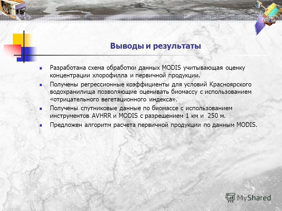 Выводы и результаты Разработана схема обработки данных MODIS учитывающая оценку концентрации хлорофилла и первичной продукции. Получены регрессионные коэффициенты для условий Красноярского водохранилища позволяющие оценивать биомассу с использованием