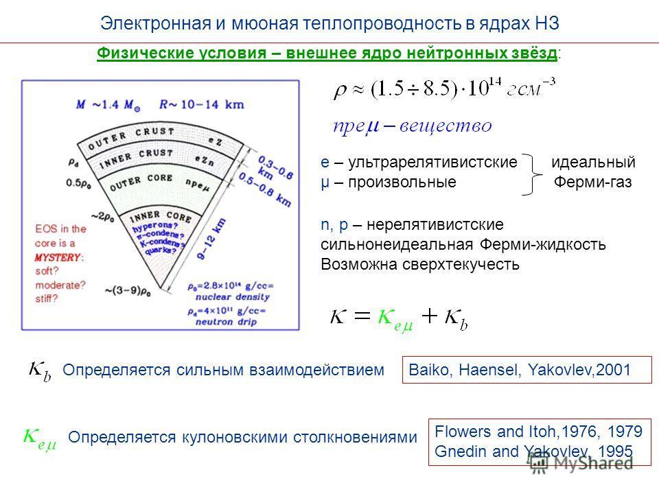 Электронная и мюоная теплопроводность в ядрах НЗ Физические условия – внешнее ядро нейтронных звёзд: Flowers and Itoh,1976, 1979 Gnedin and Yakovlev, 1995 Baiko, Haensel, Yakovlev,2001 Определяется сильным взаимодействием Определяется кулоновскими ст