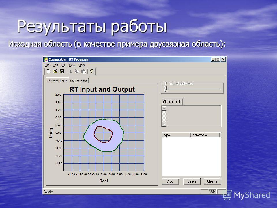Результаты работы Исходная область (в качестве примера двусвязная область):