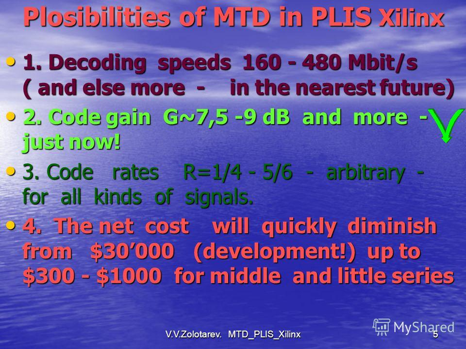 5 Plosibilities of MTD in PLIS Xilinx 1. Decoding speeds 160 - 480 Mbit/s ( and else more - in the nearest future) 1. Decoding speeds 160 - 480 Mbit/s ( and else more - in the nearest future) 2. Code gain G~7,5 -9 dB and more - just now! 2. Code gain