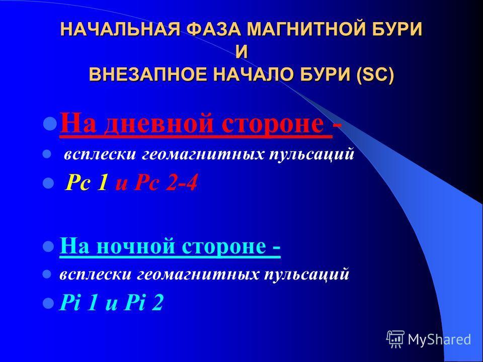 НАЧАЛЬНАЯ ФАЗА МАГНИТНОЙ БУРИ И ВНЕЗАПНОЕ НАЧАЛО БУРИ (SC) На дневной стороне - всплески геомагнитных пульсаций Рс 1 и Рс 2-4 На ночной стороне - всплески геомагнитных пульсаций Pi 1 и Pi 2