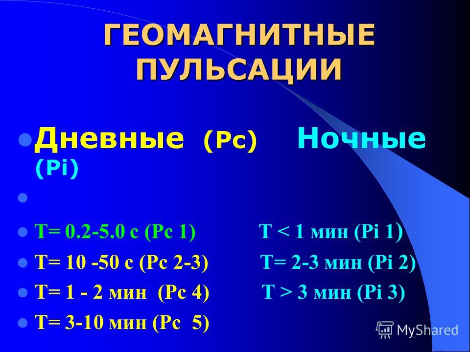 ГЕОМАГНИТНЫЕ ПУЛЬСАЦИИ Дневные (Pc) Ночные (Pi) Т= 0.2-5.0 с (Рс 1) Т < 1 мин (Pi 1 ) Т= 10 -50 с (Рс 2-3) Т= 2-3 мин (Pi 2) Т= 1 - 2 мин (Рс 4) Т > 3 мин (Pi 3) Т= 3-10 мин (Рс 5)