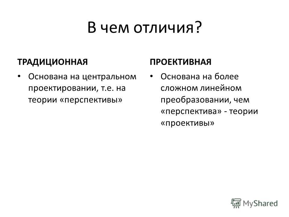 В чем отличия? ТРАДИЦИОННАЯ Основана на центральном проектировании, т.е. на теории «перспективы» ПРОЕКТИВНАЯ Основана на более сложном линейном преобразовании, чем «перспектива» - теории «проективы»
