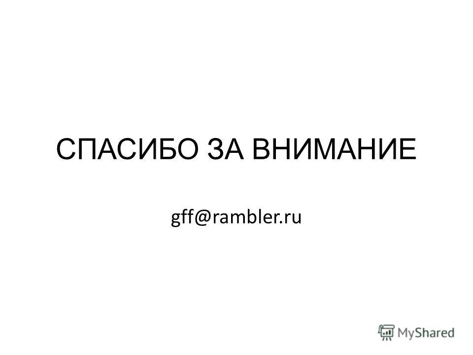СПАСИБО ЗА ВНИМАНИЕ gff@rambler.ru
