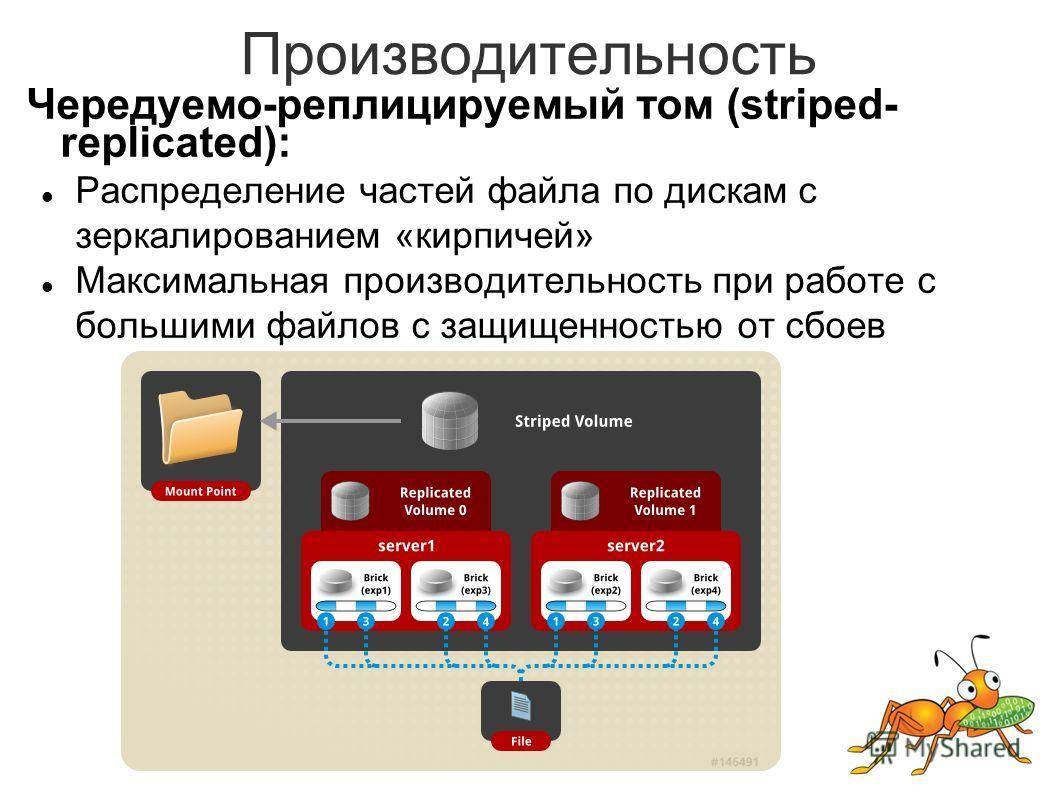Производительность Чередуемо-реплицируемый том (striped- replicated): Распределение частей файла по дискам с зеркалированием «кирпичей» Максимальная производительность при работе с большими файлов с защищенностью от сбоев