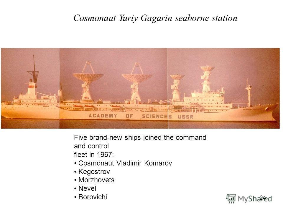 24 Cosmonaut Yuriy Gagarin seaborne station Five brand-new ships joined the command and control fleet in 1967: Cosmonaut Vladimir Komarov Kegostrov Morzhovets Nevel Borovichi