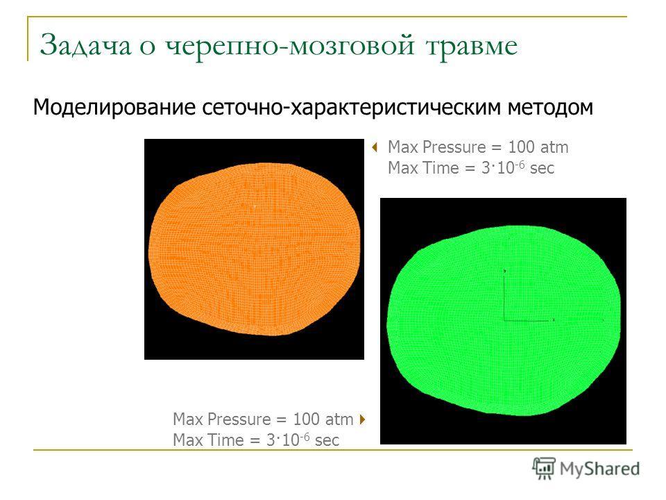 Max Pressure = 100 atm Max Time = 3·10 -6 sec Моделирование сеточно-характеристическим методом Задача о черепно-мозговой травме