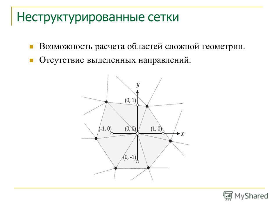 Возможность расчета областей сложной геометрии. Отсутствие выделенных направлений. Неструктурированные сетки