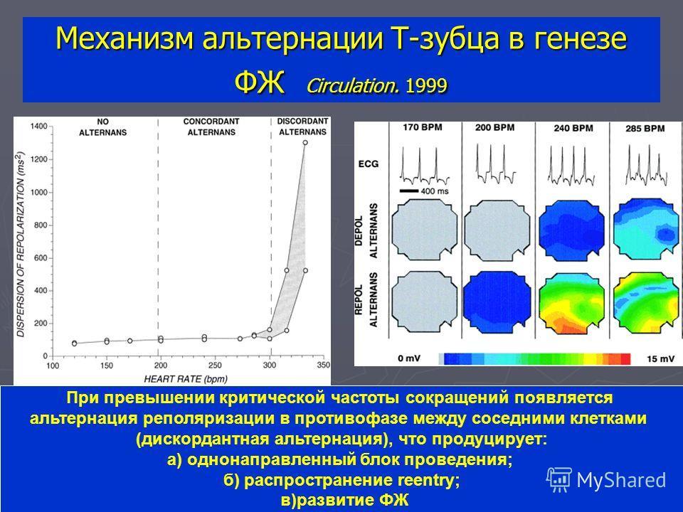 Механизм альтернации T-зубца в генезе ФЖ Circulation. 1999 При превышении критической частоты сокращений появляется альтернация реполяризации в противофазе между соседними клетками (дискордантная альтернация), что продуцирует: а) однонаправленный бло