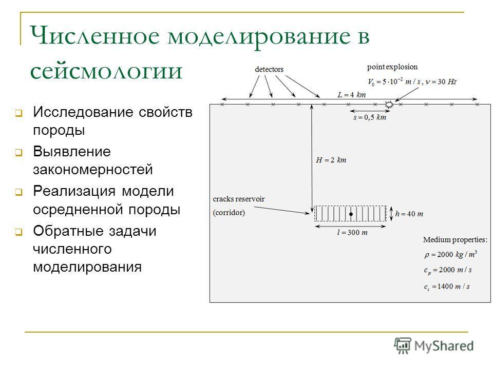 Численное моделирование в сейсмологии Исследование свойств породы Выявление закономерностей Реализация модели осредненной породы Обратные задачи численного моделирования