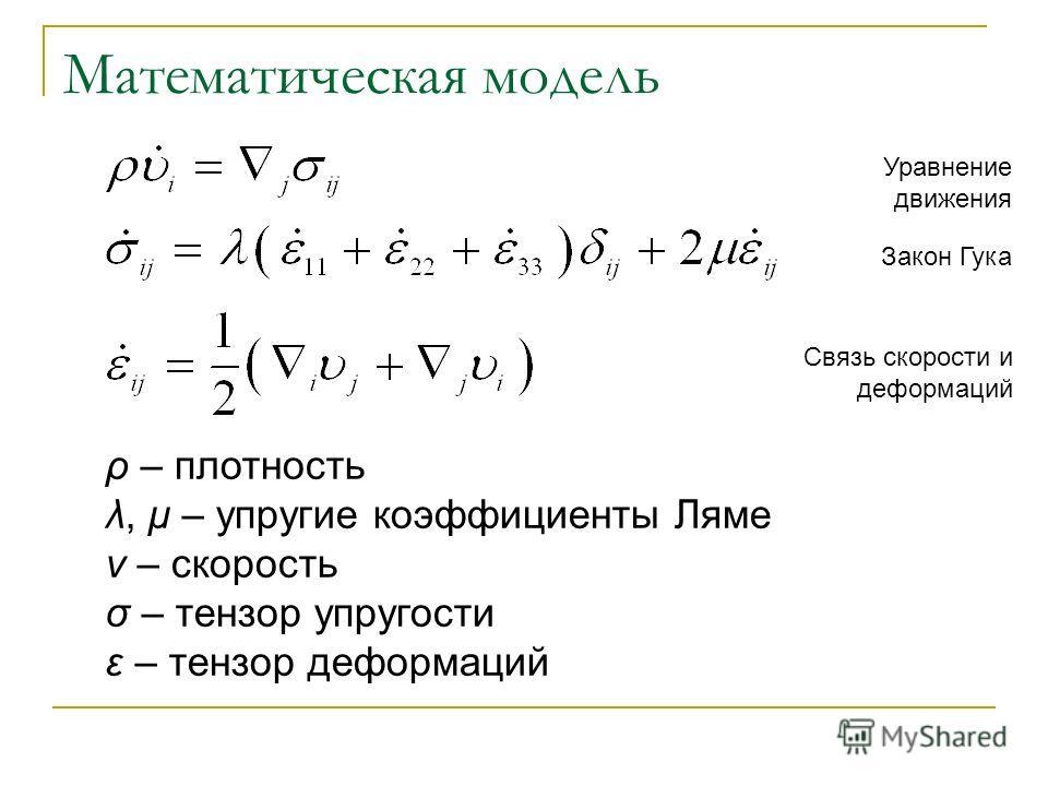 Математическая модель ρ – плотность λ, μ – упругие коэффициенты Ляме v – скорость σ – тензор упругости ε – тензор деформаций Уравнение движения Закон Гука Связь скорости и деформаций