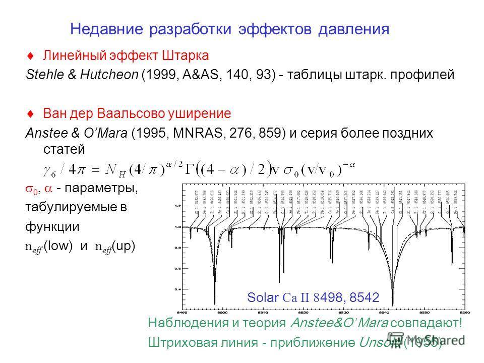 Недавние разработки эффектов давления Линейный эффект Штарка Stehle & Hutcheon (1999, A&AS, 140, 93) - таблицы штарк. профилей Ван дер Ваальсово уширение Anstee & OMara (1995, MNRAS, 276, 859) и серия более поздних статей 0, - параметры, табулируемые