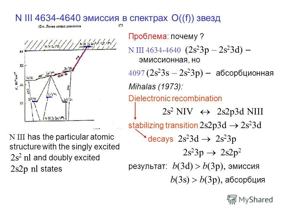N III 4634-4640 эмиссия в спектрах O((f)) звезд Проблема: почему ? N III 4634-4640 (2s 2 3p – 2s 2 3d) – эмиссионная, но 4097 (2s 2 3s – 2s 2 3p) – абсорбционная Mihalas (1973): Dielectronic recombination 2s 2 NIV 2s2p3d NIII stabilizing transition 2