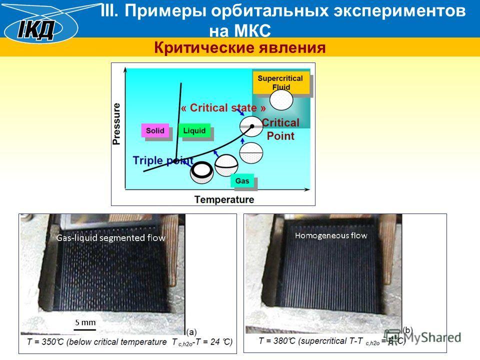 III. Примеры орбитальных экспериментов на МКС Критические явления