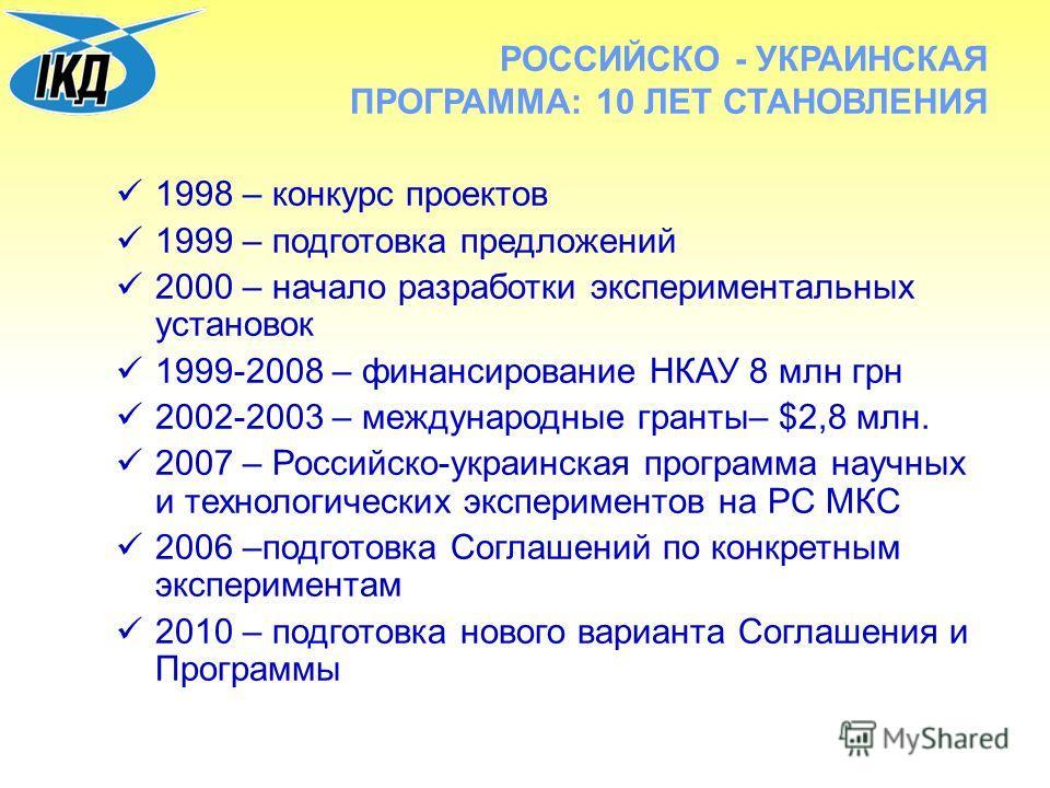 РОССИЙСКО - УКРАИНСКАЯ ПРОГРАММА: 10 ЛЕТ СТАНОВЛЕНИЯ 1998 – конкурс проектов 1999 – подготовка предложений 2000 – начало разработки экспериментальных установок 1999-2008 – финансирование НКАУ 8 млн грн 2002-2003 – международные гранты– $2,8 млн. 2007