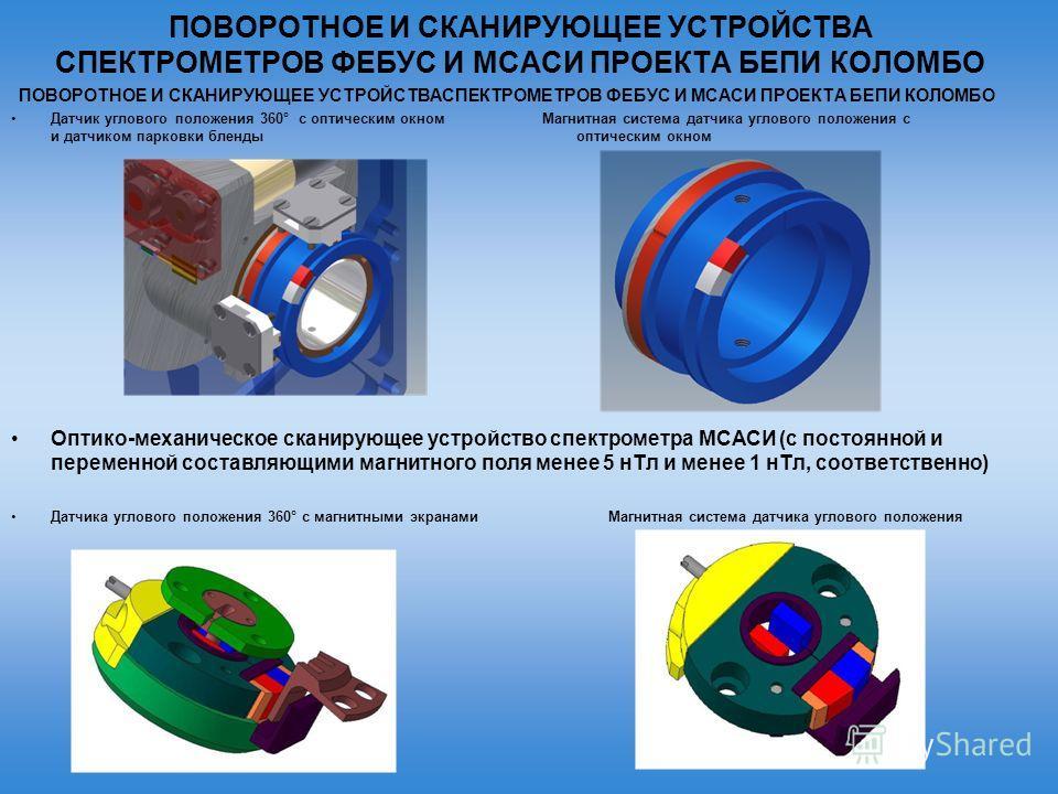 ПОВОРОТНОЕ И СКАНИРУЮЩЕЕ УСТРОЙСТВА СПЕКТРОМЕТРОВ ФЕБУС И МСАСИ ПРОЕКТА БЕПИ КОЛОМБО Датчик углового положения 360° с оптическим окном Магнитная система датчика углового положения с и датчиком парковки бленды оптическим окном Оптико-механическое скан