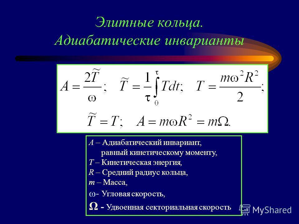Элитные кольца. Адиабатические инварианты A – Адиабатический инвариант, равный кинетическому моменту, T – Кинетическая энергия, R – Средний радиус кольца, m – Масса, - Угловая скорость, Ω - Удвоенная секториальная скорость