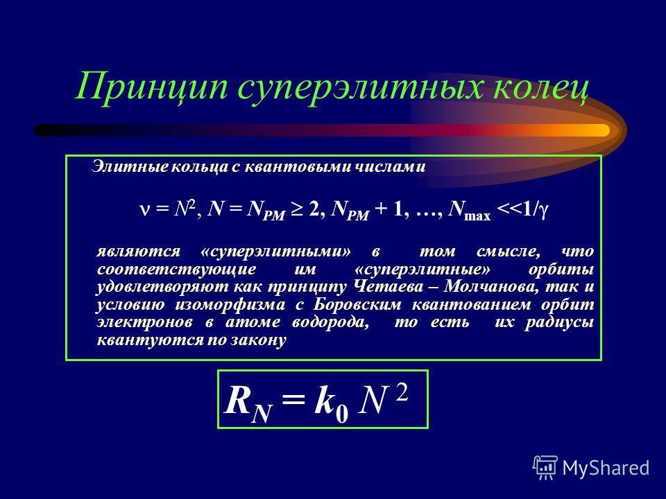 Принцип суперэлитных колец Элитные кольца с квантовыми числами = N 2, N = N PM 2, N PM + 1, …, N max
