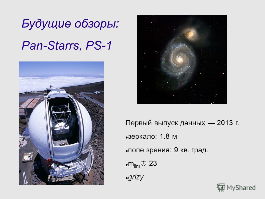 Будущие обзоры: Pan-Starrs, PS-1 Первый выпуск данных 2013 г. зеркало: 1.8-м поле зрения: 9 кв. град. m lim 23 grizy