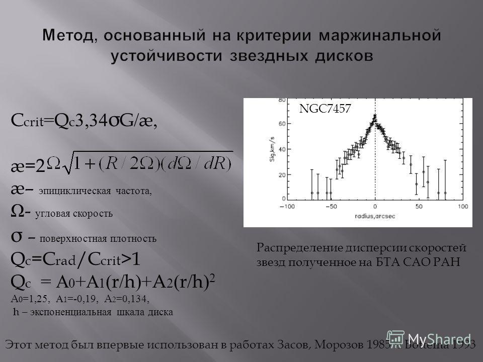 C crit =Q c 3,34 σ G/æ, æ=2 æ– эпициклическая частота, Ω - угловая скорость σ – поверхностная плотность Q c =C rad /C crit >1 Q c = А 0 + А 1 (r/h)+A 2 (r/h) 2 A 0 =1,25, А 1 =-0,19, A 2 =0,134, h – экспоненциальная шкала диска Распределение дисперси