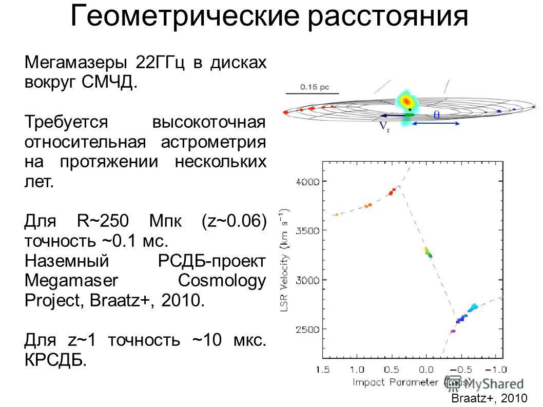 Геометрические расстояния Мегамазеры 22ГГц в дисках вокруг СМЧД. Требуется высокоточная относительная астрометрия на протяжении нескольких лет. Для R~250 Мпк (z~0.06) точность ~0.1 мс. Наземный РСДБ-проект Megamaser Cosmology Project, Braatz+, 2010.