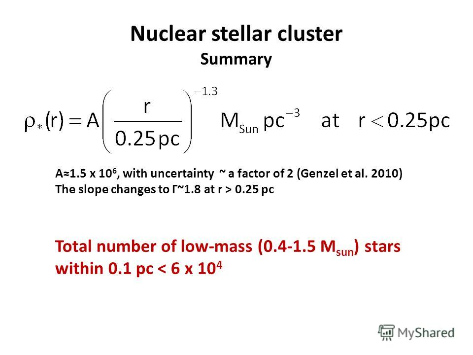 Nuclear stellar cluster Summary A1.5 x 10 6, with uncertainty ~ a factor of 2 (Genzel et al. 2010) The slope changes to Γ~1.8 at r > 0.25 pc Total number of low-mass (0.4-1.5 M sun ) stars within 0.1 pc < 6 x 10 4