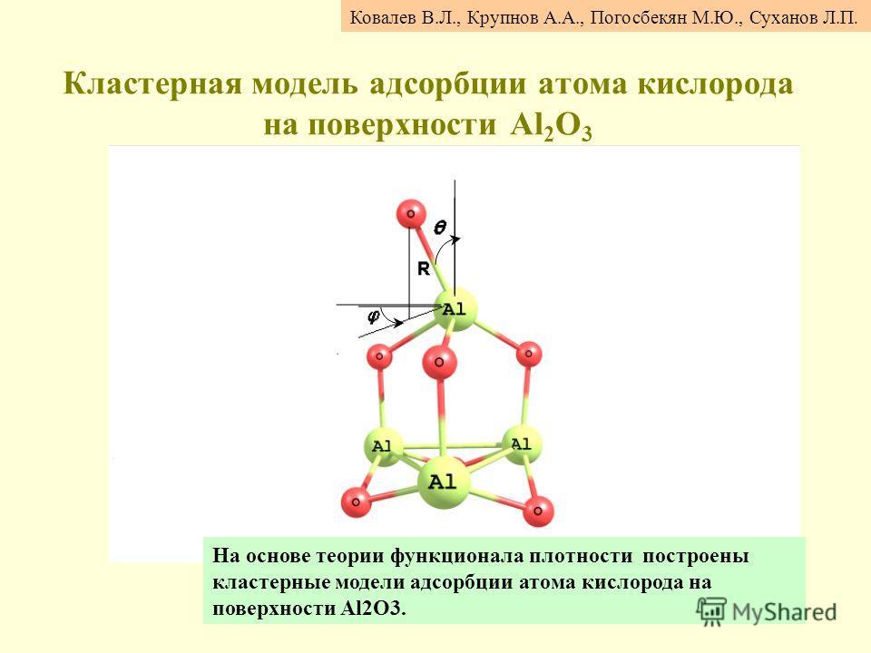 Кластерная модель адсорбции атома кислорода на поверхности Al 2 O 3 Ковалев В.Л., Крупнов А.А., Погосбекян М.Ю., Суханов Л.П. На основе теории функционала плотности построены кластерные модели адсорбции атома кислорода на поверхности Al2O3.