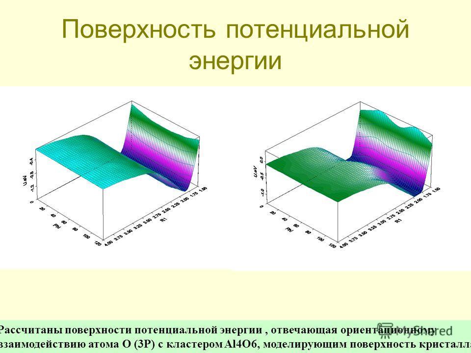 Поверхность потенциальной энергии Рассчитаны поверхности потенциальной энергии, отвечающая ориентационному взаимодействию атома O (3P) с кластером Al4O6, моделирующим поверхность кристалла - Al2O3.
