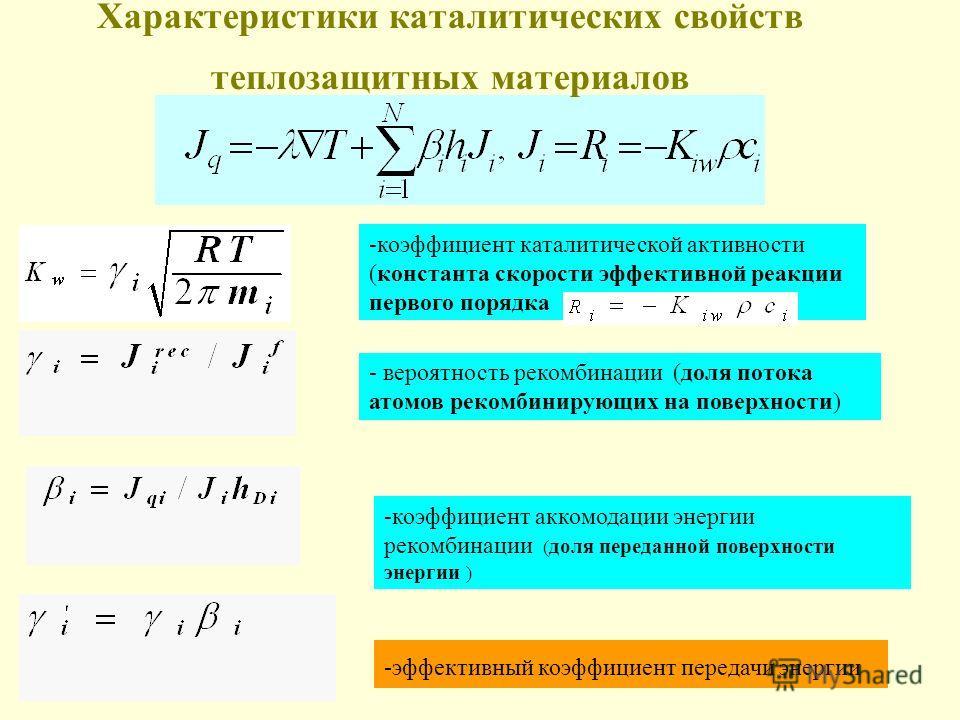 Характеристики каталитических свойств теплозащитных материалов - вероятность рекомбинации (доля потока атомов рекомбинирующих на поверхности) -коэффициент аккомодации энергии рекомбинации ( доля переданной поверхности энергии ) -эффективный коэффицие