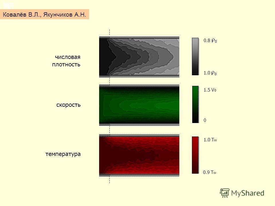 Результаты 0.9 T w 1.0 T w 0 1.5 V 0 1.0 0.8 числовая плотность скорость температура Ковалёв В.Л., Якунчиков А.Н.
