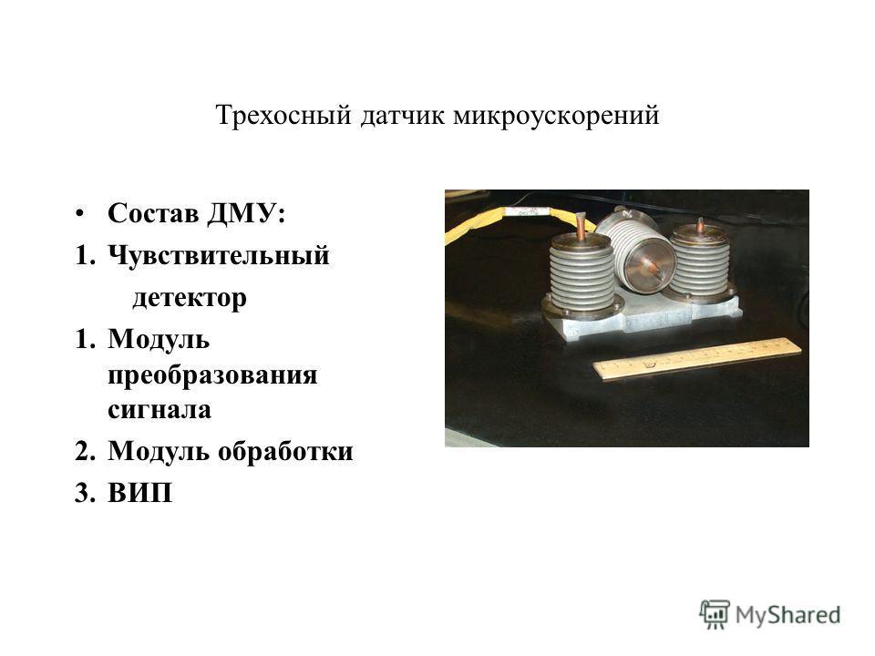 Трехосный датчик микроускорений Состав ДМУ: 1.Чувствительный детектор 1.Модуль преобразования сигнала 2.Модуль обработки 3.ВИП