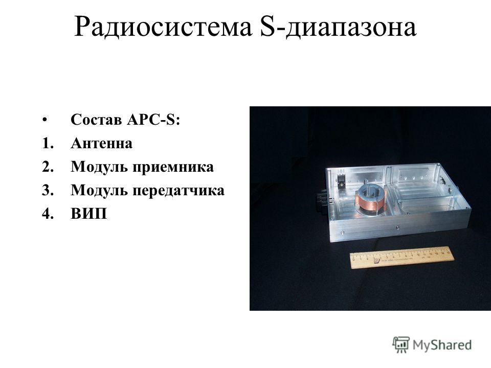 Радиосистема S-диапазона Состав АРС-S: 1.Антенна 2.Модуль приемника 3.Модуль передатчика 4.ВИП