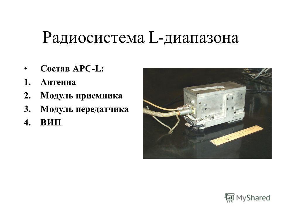 Радиосистема L-диапазона Состав АРС-L: 1.Антенна 2.Модуль приемника 3.Модуль передатчика 4.ВИП