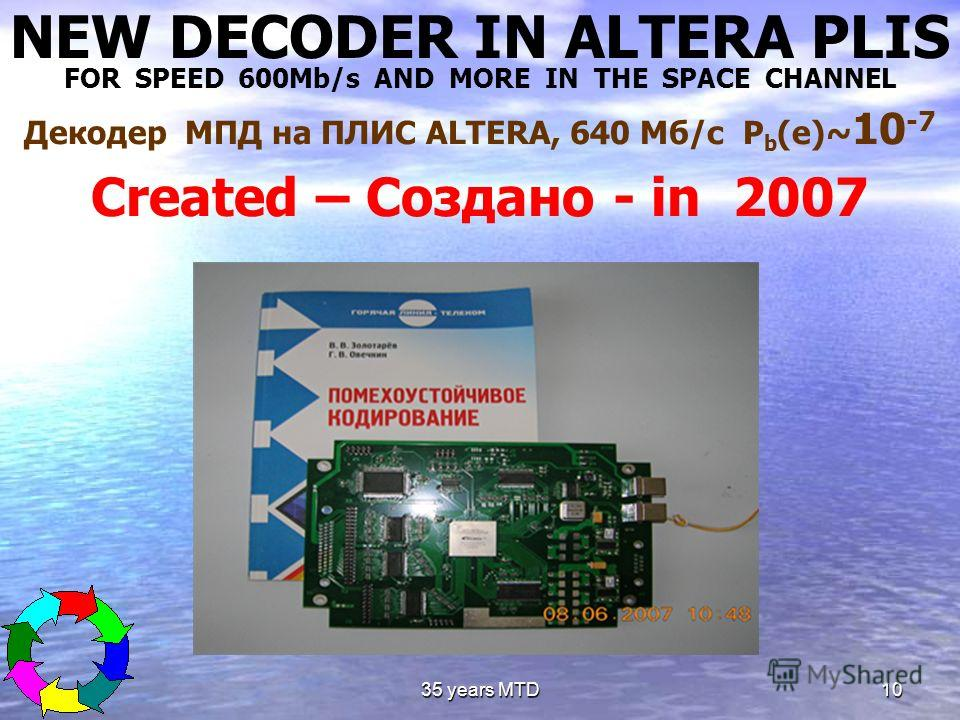 35 years MTD10 NEW DECODER IN ALTERA PLIS FOR SPEED 600Mb/s AND MORE IN THE SPACE CHANNEL Декодер МПД на ПЛИС ALTERA, 640 Мб/с P b (e)~ 10 -7 Created – Создано - in 2007