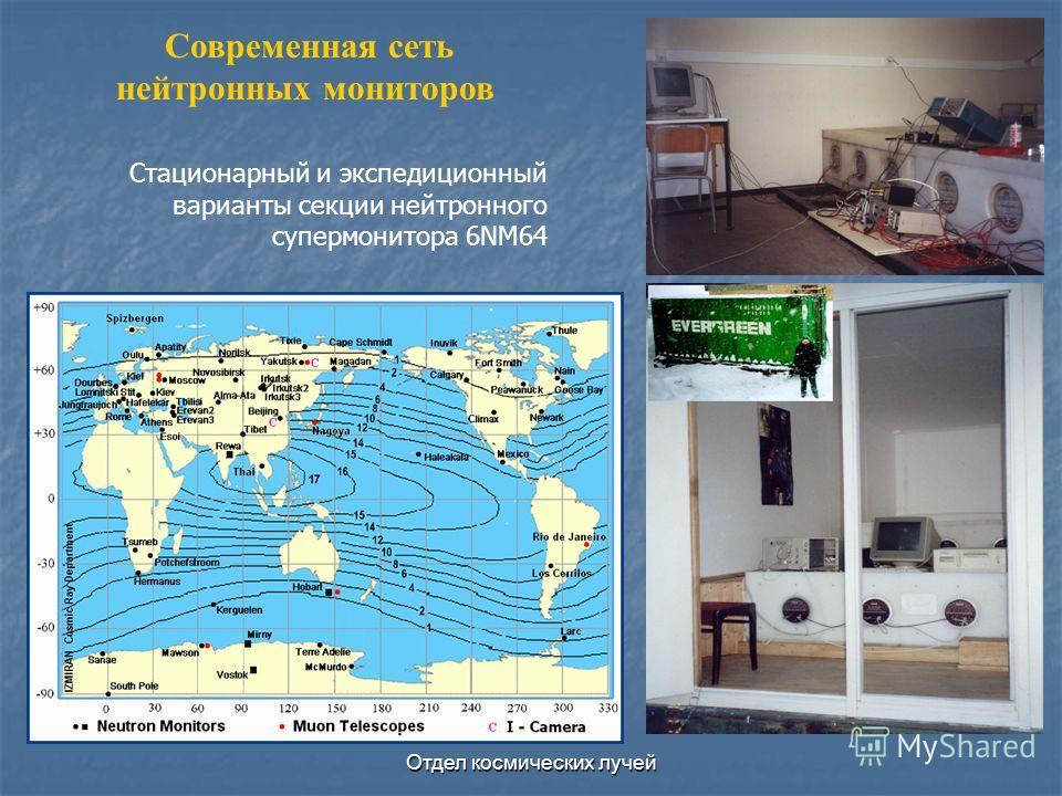 Отдел космических лучей Стационарный и экспедиционный варианты секции нейтронного супермонитора 6NM64 Современная сеть нейтронных мониторов