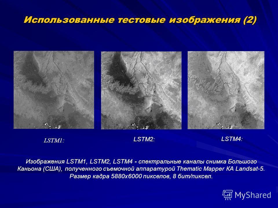 Использованные тестовые изображения (2) LSTM1: LSTM2 : LSTM4 : Изображения LSTM1, LSTM2, LSTM4 - спектральные каналы снимка Большого Каньона (США), полученного съемочной аппаратурой Thematic Mapper КА Landsat-5. Размер кадра 5880х6000 пикселов, 8 бит